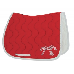 tapis de selle Pénélope rouge point sellier blanc