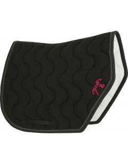 tapis de selle coupe sport noir avec un point sellier rose Pénélope