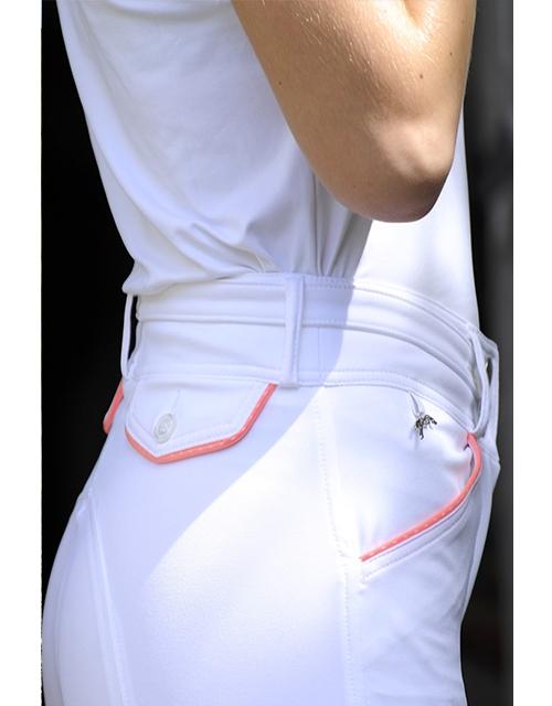 Pantalon d'équitation - blanc surpiqûre corail Pénélope Leprevost
