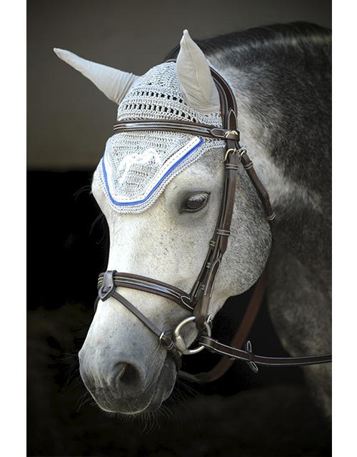 Point Sellier Fly veil  - Grey & Royal blue