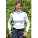 polo de concours Bruges blanc galons marine Pénélope Leprevost